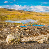 Norway Nature Mountain Landscape With Stones And Lake. Stock Images