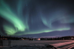 Norway northern light. In Tromso. Int was a freezing night and we wait for 4 hours to get this view Stock Images