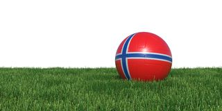 Norway Norwegian flag soccer ball lying in grass world cup 2018. Isolated on white background. 3D Rendering, Illustration Royalty Free Stock Image