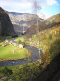Norway in a nutshell and Flam. Norway in a nutshell  train trip into the landscape and fjord and Flam Stock Photos