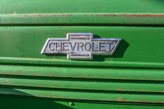 Old vintage Cheverolet car decal stock images
