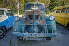 Old vintage Dodge truck car. Norway, 2010: Old vintage Dodge truck car royalty free stock photography