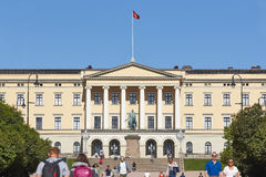 Norway. Oslo Royal Palace facade with people. Sunny day. Horizontal Royalty Free Stock Image