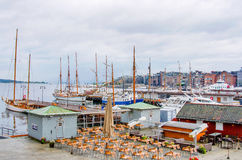 NORWAY, OSLO, SEA. OSLO, NORWAY - JULY 29 - 2015: Oslo harbour with boats and yachts Royalty Free Stock Photo
