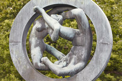 Norway, Oslo. Vigeland park sculpture woman and man. Travel tour Stock Photos