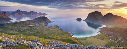 Norway. Panoramic view of  Lofoten Islands, located in Norway, taken from Holadsmelen, during summer sunset Stock Photo