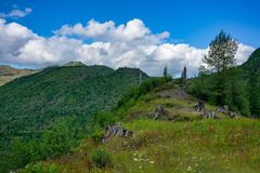 Norway Pass Trail Mount Saint Helens. Hiking The Norway Pass Trail At Mount Saint Helens Under Beautiful Skies stock photography