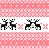 Norway pattern with reindeer. Cute Norwegian knitted pattern or background. Vector Stock Photo