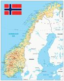 Norway Physical Map. – highly detailed vector illustration. Image contains layers with shaded contours, land names, city names, water objects and it`s stock illustration