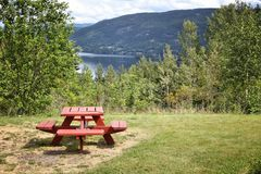 Norway picnic site. Lake Norsjo picnic site in Norway. Wooden table Stock Image