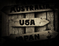 Norway pointer to USA, Japan and Australia vignette Stock Images