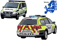 Norway Police Car. Colored Illustration from Series Europol, Vector Royalty Free Stock Photo