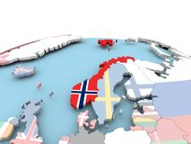 Flag of Norway on bright globe. Norway on political globe with embedded flags. 3D illustration Stock Image