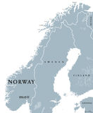 Norway political map. With capital Oslo, national borders and neighbors. Kingdom and Scandinavian country in Northern Europe. Gray illustration, English Stock Photos