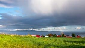 Norway. Rainbow on Trondheim Fjord. 4K timelapse footage. stock video footage