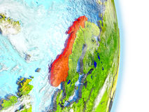 Norway in red on Earth Royalty Free Stock Photo