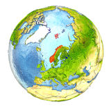 Norway in red on full Earth Stock Photos