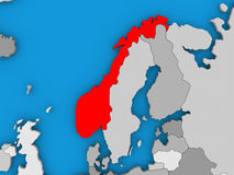 Norway in red on globe Royalty Free Stock Photo