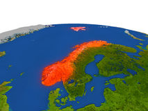 Norway in red from orbit Stock Image