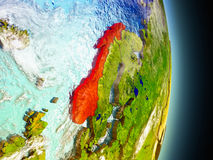 Norway in red from space Stock Photos