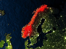 Norway in red from space at night Stock Image