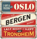 Norway retro signs collection royalty free illustration