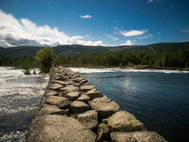 Stonepath in River. Beautiful Spot on a river in norway Stock Image