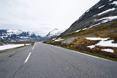 Norway road landscape on high mountains. Royalty Free Stock Image