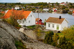 Norway Road, Vilage By Fjord Kragero, Portor Royalty Free Stock Photo