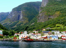 Norway's Fjords. Small village of Undredal along the Aurlandsfjord in Norway Royalty Free Stock Image