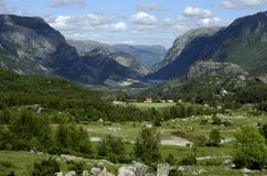 Norway, Scandinavian mountains. Scandinavian fjord in beautiful nature in Norway between mountains with trees, clouds and sky royalty free stock photo