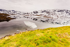 Norway scenic mountains with frozen lake. Royalty Free Stock Photo