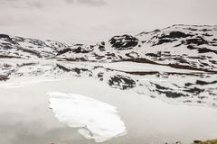 Norway scenic mountains with frozen lake. Royalty Free Stock Images