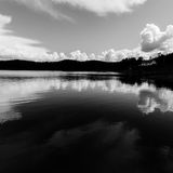 Norway sea shore landscape view - monochrome Royalty Free Stock Photo