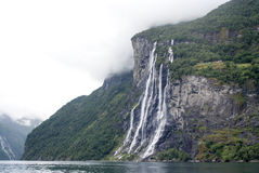 Norway - Seven Sisters Waterfall. Geirangerfjord - Europe travel destination Stock Photo