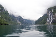 Norway - Seven Sisters Waterfall. Geirangerfjord - Europe travel destination Stock Image