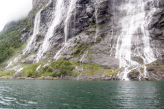 Norway - Seven Sisters Waterfall. Geirangerfjord -Europe travel destination Stock Photo