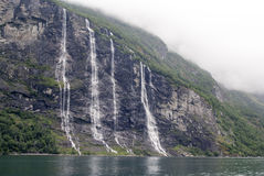 Norway - Seven Sisters Waterfall. Geirangerfjord - Europe travel destination Stock Images