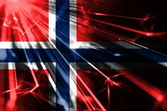 Norway shining fireworks sparkling flag. New Year 2019 and Christmas futuristic shiny party concept flag. Norway shining fireworks sparkling flag. New Year 2019 stock illustration