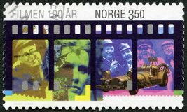 NORWAY - 1996: shows Leif Juster, Sean Connery, Liv Ullmann, The Olsen Gang Films, II Temp Gigante, Century Motion Pictures. NORWAY - CIRCA 1996: A stamp printed Stock Photography