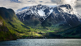 Norway, small town fresvik by sogne fjord Royalty Free Stock Images