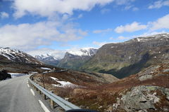 Norway snow road - national tourisrt route Royalty Free Stock Photos