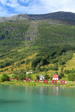 Norway, Sogn of Fjordane. County. Rural architecture next to Nordfjord in Olden Royalty Free Stock Photography