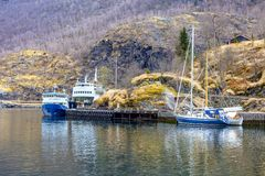 Norway. Sognefjord fjord. Pier royalty free stock images