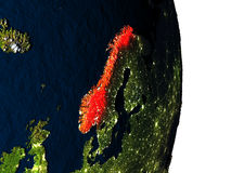 Norway from space during dusk Stock Images