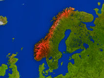 Norway from space in red Stock Images