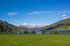 Norway spring Landscape - lake and snowly mountains Royalty Free Stock Image