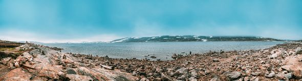 Free Norway. Stones On Coast Of Beautiful Lake Orteren In Spring Cloudy Day. Norwegian Nature. Panorama, Panoramic View. Stock Photography - 162570242