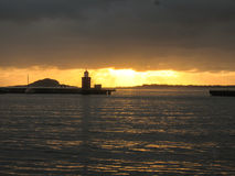 Norway sunset port ocean Royalty Free Stock Photos