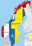 Norway and Sweden. Abstract vector color map of Norway and Sweden country coloured by national flag stock illustration